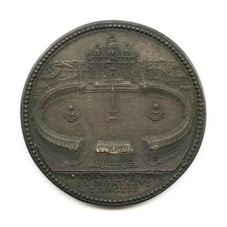 Stato della Chiesa. Medaglia in bronzo di Alessandro VII con veduta della Basilica di San Pietro (rovescio), riconiazione ottocentesca
