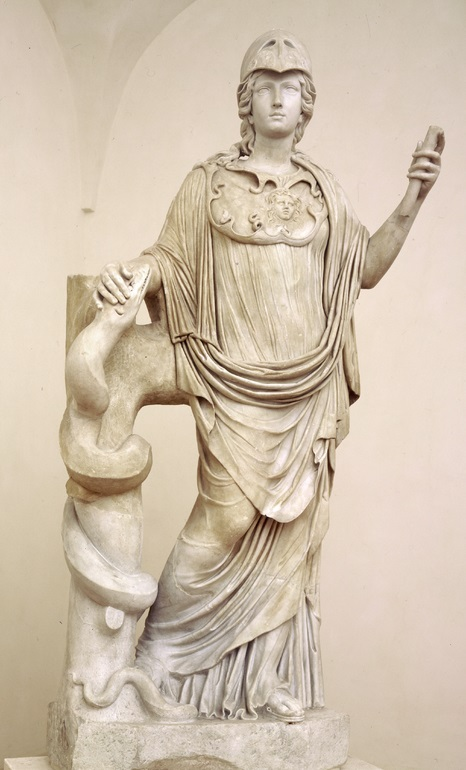 Statue of Athena with snake