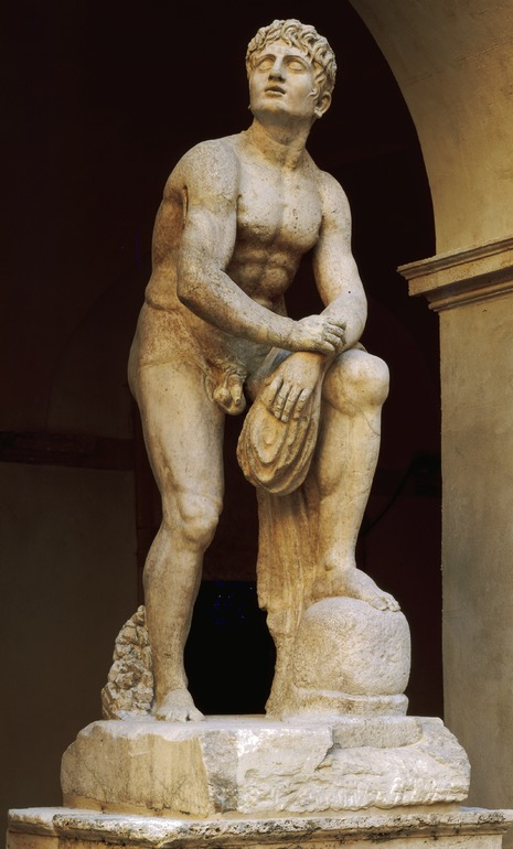 Statue of athlete at rest