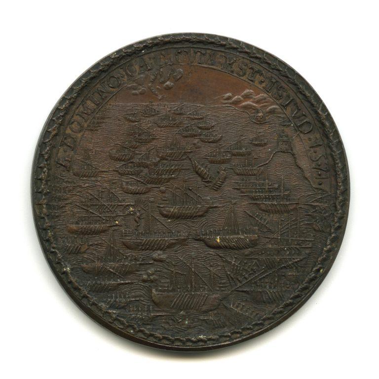 Stato della Chiesa. Medaglia in bronzo di Pio V con scena della battaglia di Lepanto (rovescio), riconiazione ottocentesca