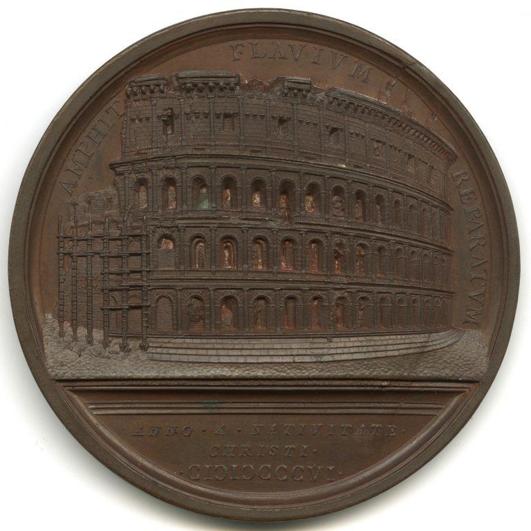 Stato della Chiesa. Medaglia  in bronzo di Pio VII per i lavori di restauro del Colosseo (rovescio), 1807