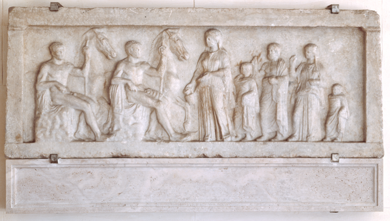 Relief depicting the Dioscuri and procession of worshippers