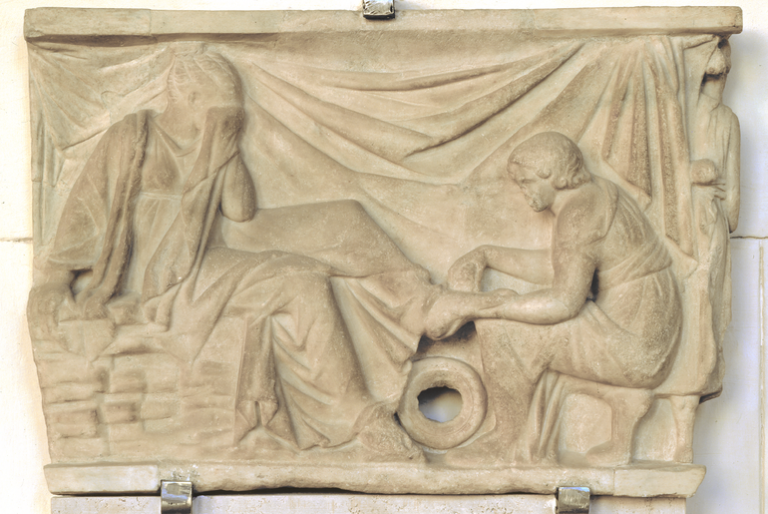 Rilievo di sarcofago con scena di nova nupta