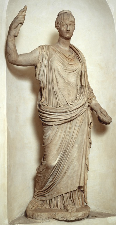 Draped female statue