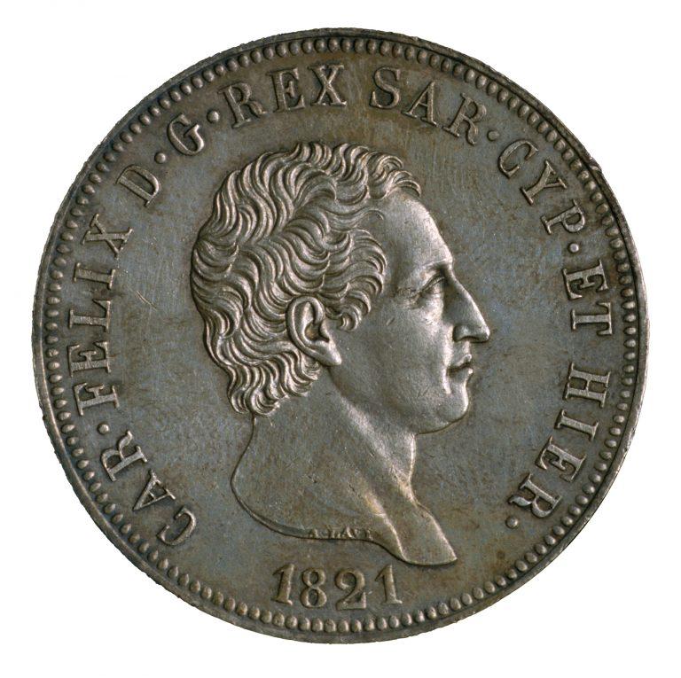 Regno di Sardegna. Lire 5 in argento di Carlo Felice di Savoia con ritratto del Re (1821-1831) (dritto), 1821