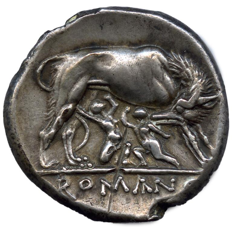 Roma. Didracma in argento con Lupa che allatta i gemelli (rovescio), prima metà del III sec. a.C.