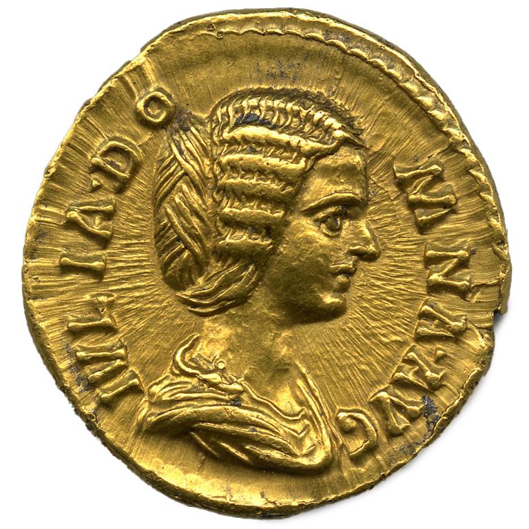 Roma. Aureo di Settimio Severo con ritratto della moglie Giulia Domna (dritto), 193-196 d.C.
