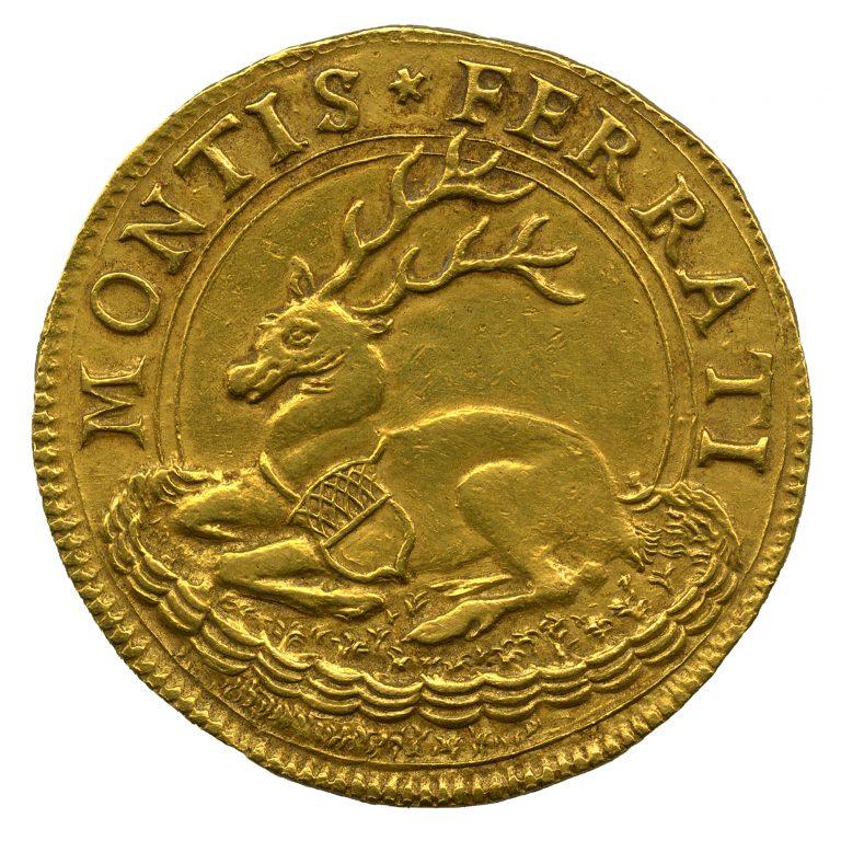 Marchesato di Monferrato. Ducati 4 in oro di Guglielmo II Paleologo con cervo accovacciato (rovescio), 1494-1518