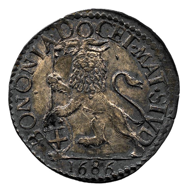 Stato della Chiesa. Bianco in argento di Innocenzo XI con leone vessillifero (rovescio), 1686