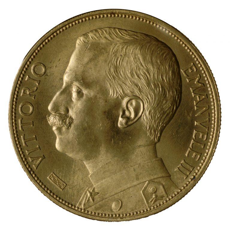 Regno d'Italia. Lire 100 in oro di Vittorio Emanuele III  con ritratto del Re (dritto), 1912