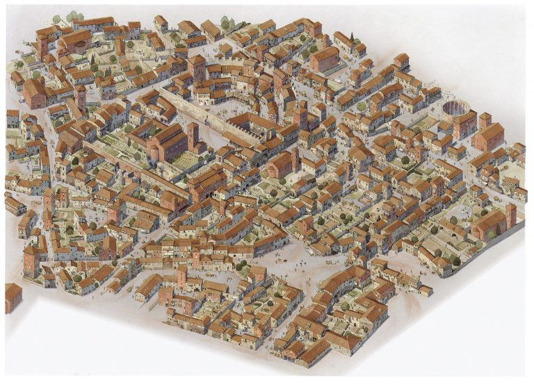 Reconstruction of the 14th-century view of the area around the Teatro di Balbo