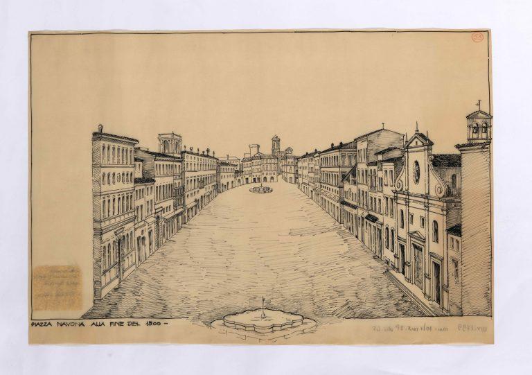 Piazza Navona alla fine del 1500. Disegno di Italo Gismondi, ASSAR, inv. 1799.